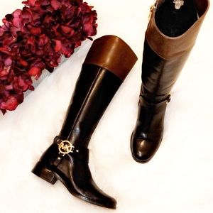 MICHAEL KORS Black Leather Tall Riding Boots